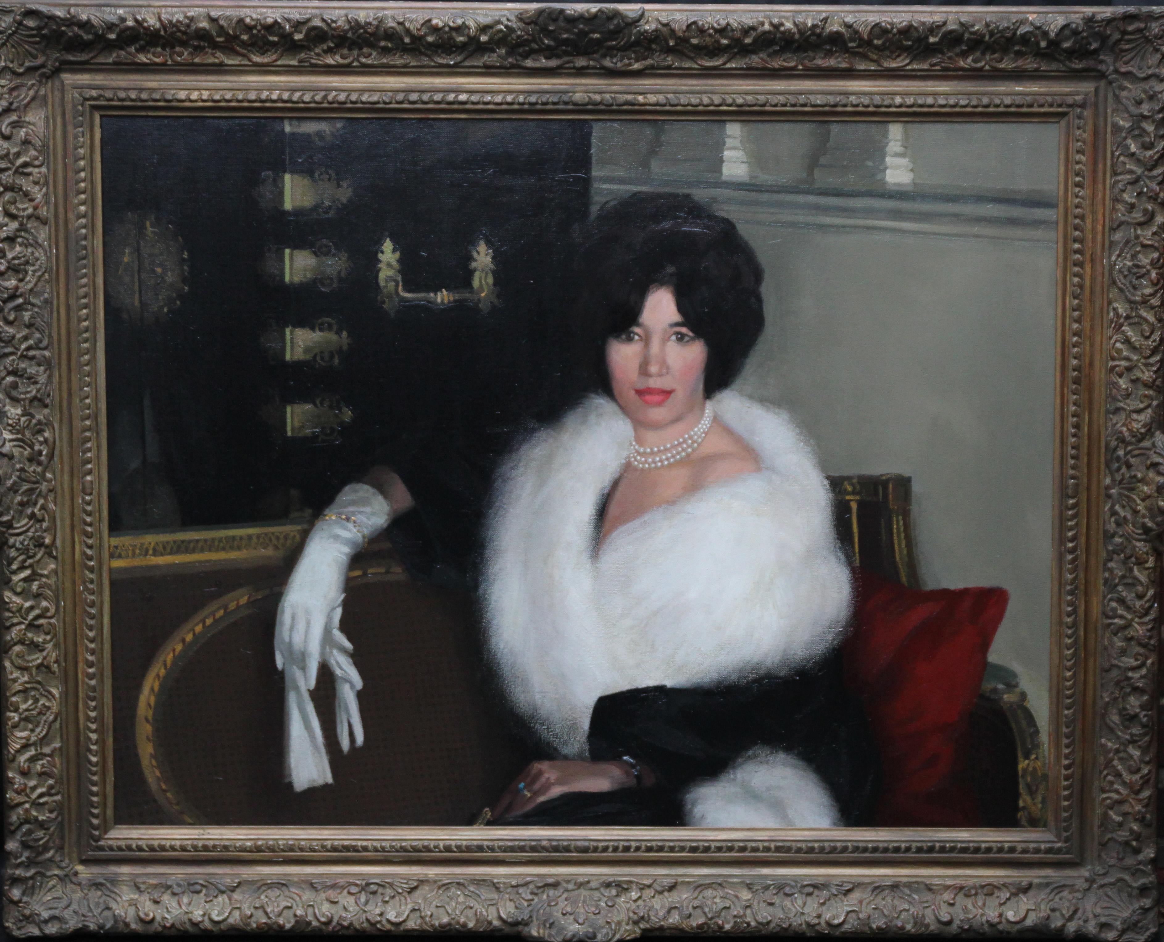 Mrs Rona Lucas Nee Levey - Britsh art 50s oil painting interior female portrait