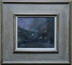 Regents Street and Cafe Royal - British Impressionist oil painting London night