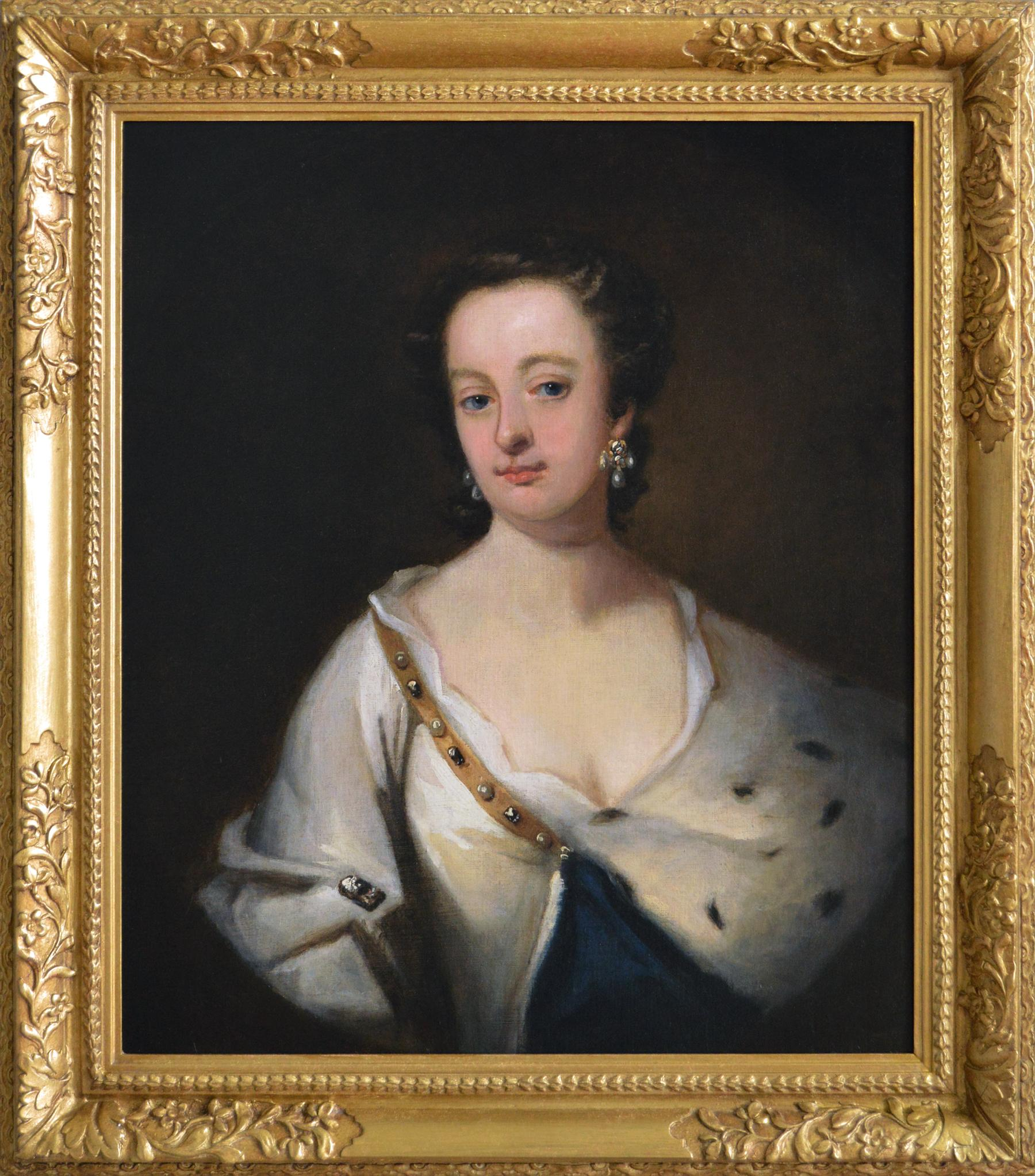 18th Century portrait oil painting of a lady in an ermine trimmed cloak