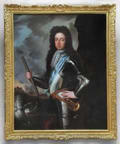 Portrait of King William III circa 1700, Antique Oil on Canvas Painting