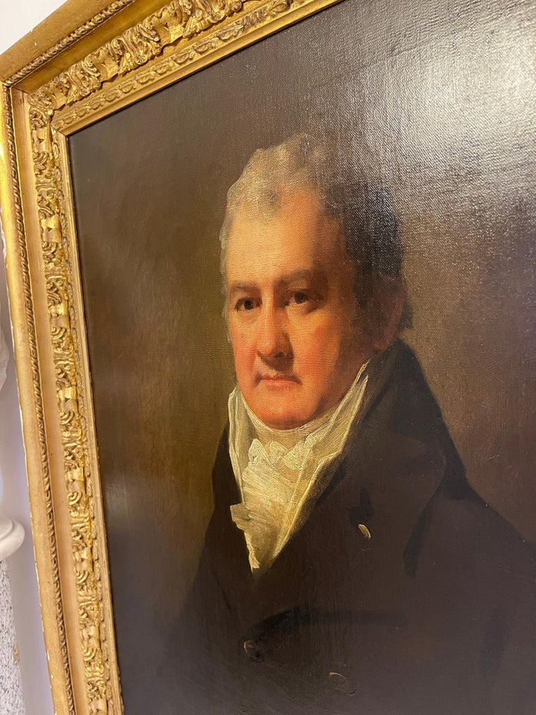 Half Length Portrait of Mr. Robertson of Edinburgh - Black Portrait Painting by Sir Henry Raeburn
