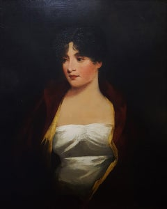 Portrait of Margaritta MacDonald in red jacket and white gown (half-length)