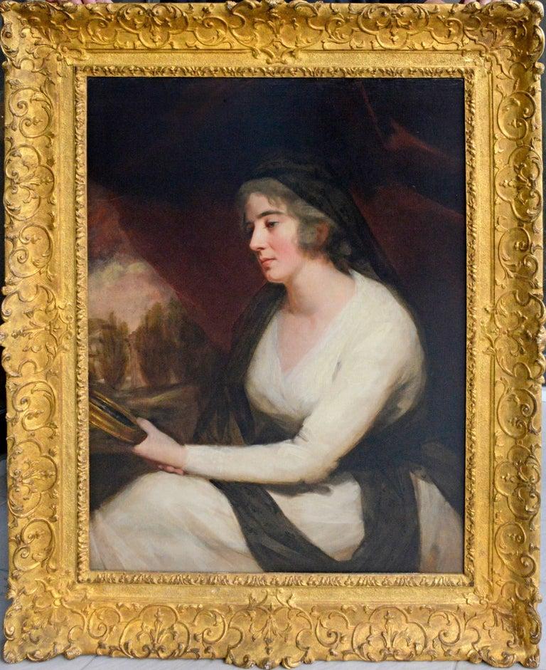 Portrait of Mrs. Johnstone Gazing into Handheld Mirror - Painting by Sir Henry Raeburn