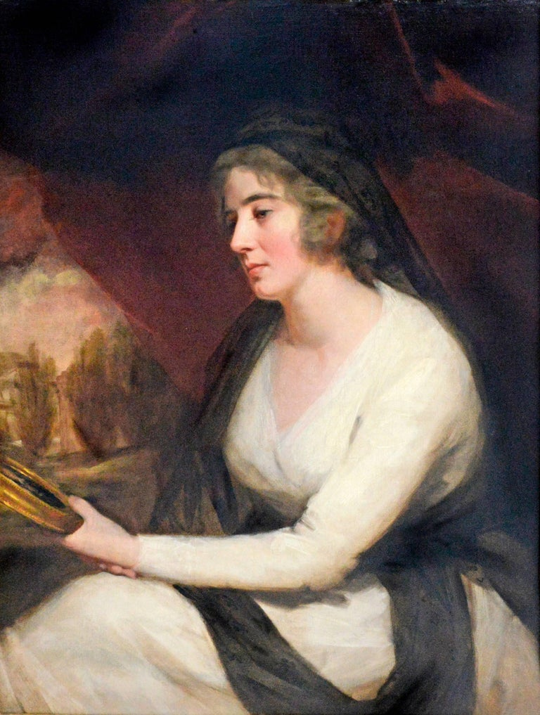 Sir Henry Raeburn Portrait Painting - Portrait of Mrs. Johnstone Gazing into Handheld Mirror
