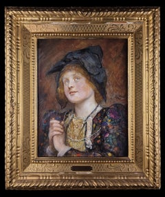 Portrait of a german young girl by Sir Hubert von Herkomer, period frame
