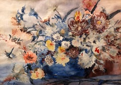 British Modernist Vibrant Watercolor Painting of Flowers