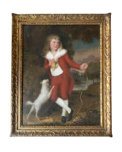 18th Century English Portrait of a Boy In Red Jacket with Bow and Arrow.