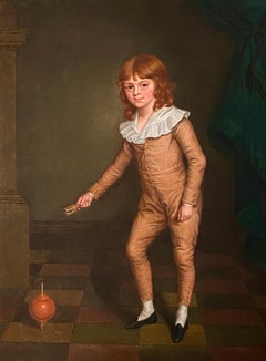 19th Century English Portrait of a Young Boy in a Orange Silk Suit