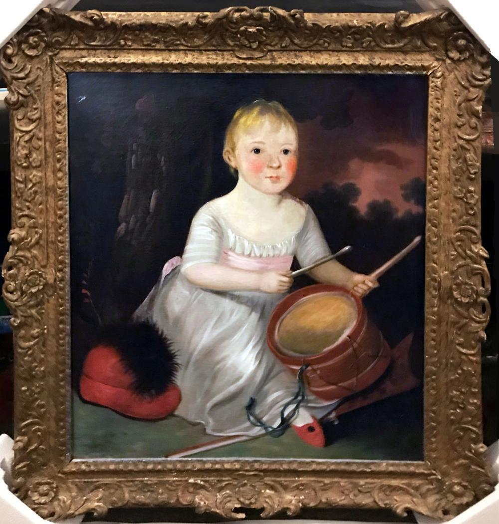 """John Hoppner 18th C. English Portrait Oil Painting """"Girl with Drum"""""""