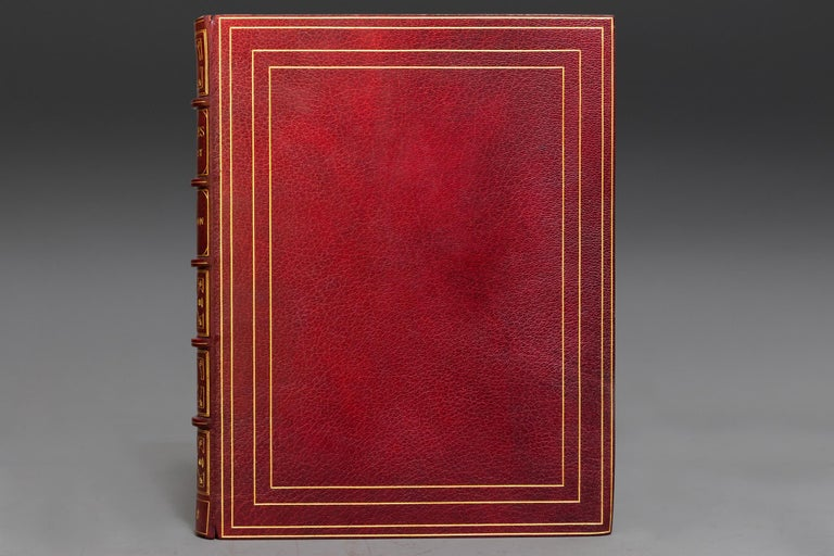 1 Volume  Bound In Full Red Morocco, Marbled Endpapers, top edges gilt, raised bands, gilt on spine and covers.  Illustrated.   Limited to 500 Copies, Printed On Japanese Vellum, This is #110, Hand-Colored Frontispiece, Plates In Two States.