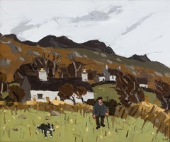20th Century Welsh landscape painting 'Farm at Strumble' by Sir Kyffin Williams