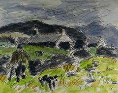 Snowdonia Farm with Farmer and two Sheep Dogs - Watercolour - Landscape Painting