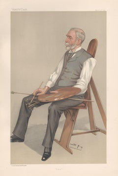 Edward Poynter, painter, Vanity Fair artist portrait chromolithograph, 1897
