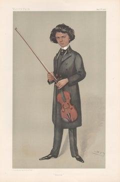 Jan Kubelek, violin, Vanity Fair musician portrait chromolithograph, 1903