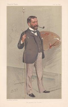 Luke Fildes, painter, Vanity Fair artist portrait chromolithograph, 1892