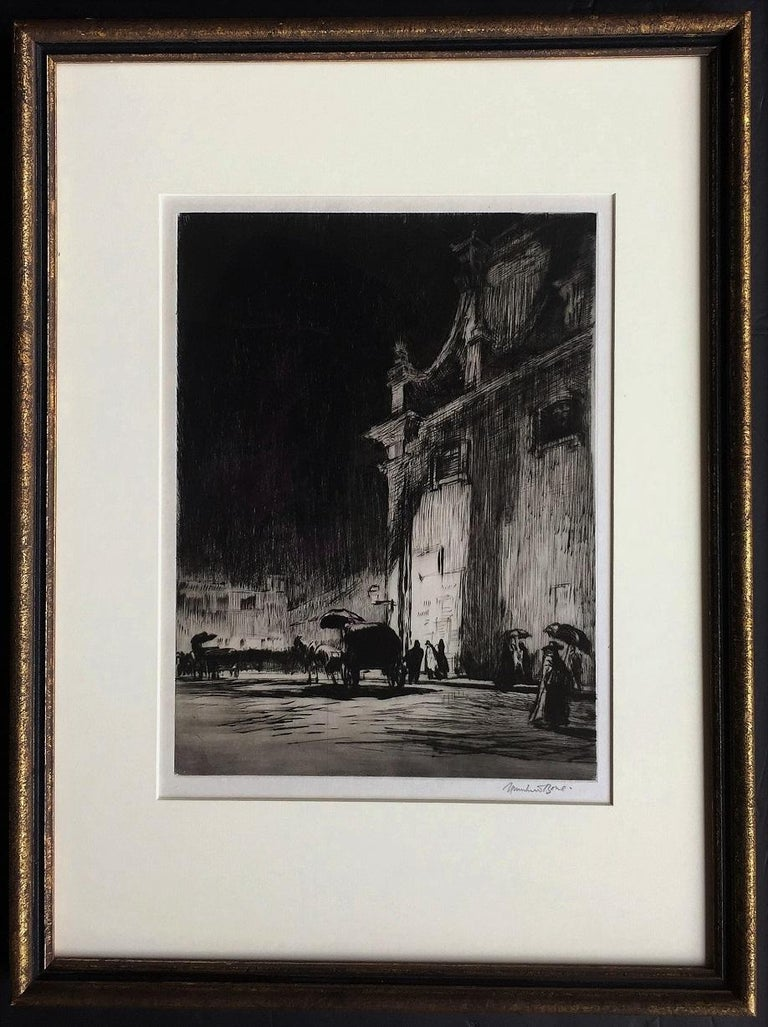 1913. Drypoint. Dodgson 299.x. 12 x 9 (sheet 16 x 11 1/4). Edition 125 in 10 states. A rich impression with burr and tonal wiping. Printed on simili-Japan paper with wide margins. Signed, dated, titled and annotated '8' on the front; annotated and