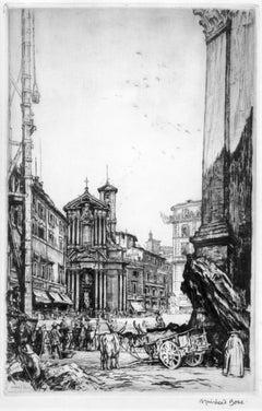 Rome view of Fontana di Trevi -black and white print by Muirhead Bone