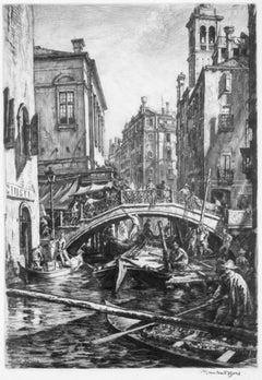 Venice view of bridge SS  Apostoli - black and white etching Muirhead Bone
