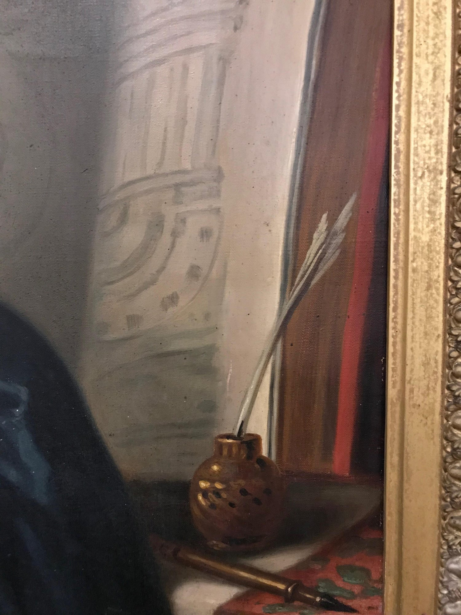 8 5 Foot Tall 17th Century Portrait Oil Painting of Sir Christopher Wren