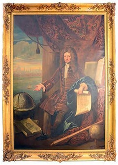 8.5 Foot Tall 17th Century Portrait Oil Painting of Sir Christopher Wren