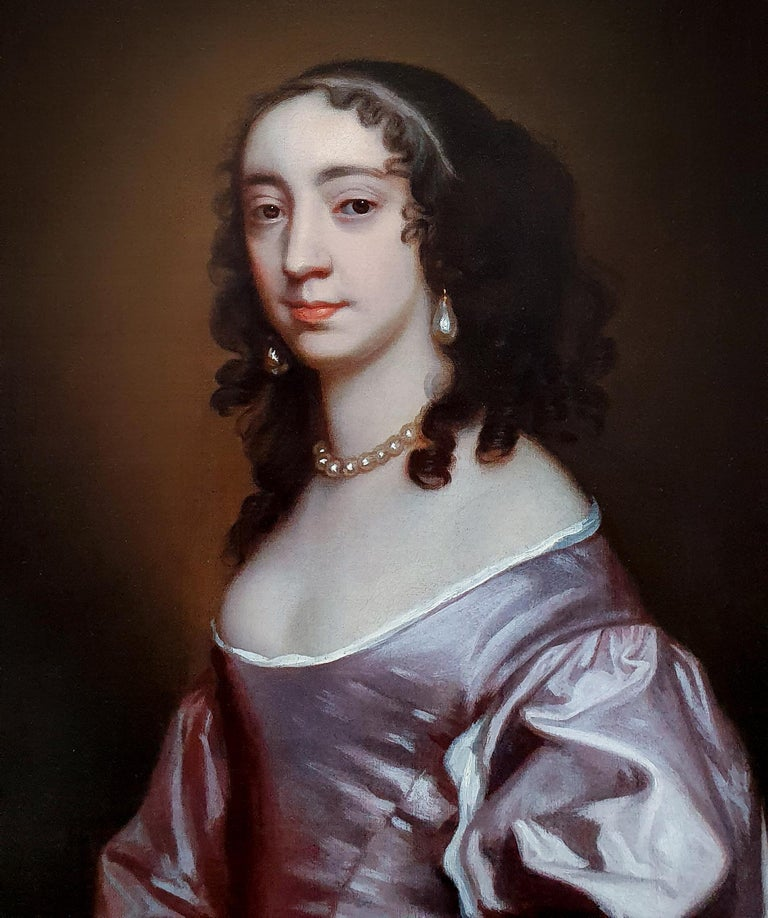 This exquisite work is an accomplished example of the type of portrait in vogue in England during the last half of the seventeenth century.  The highly keyed pallet of rich mauves, and the luminosity of the dress, is particularly striking.  The