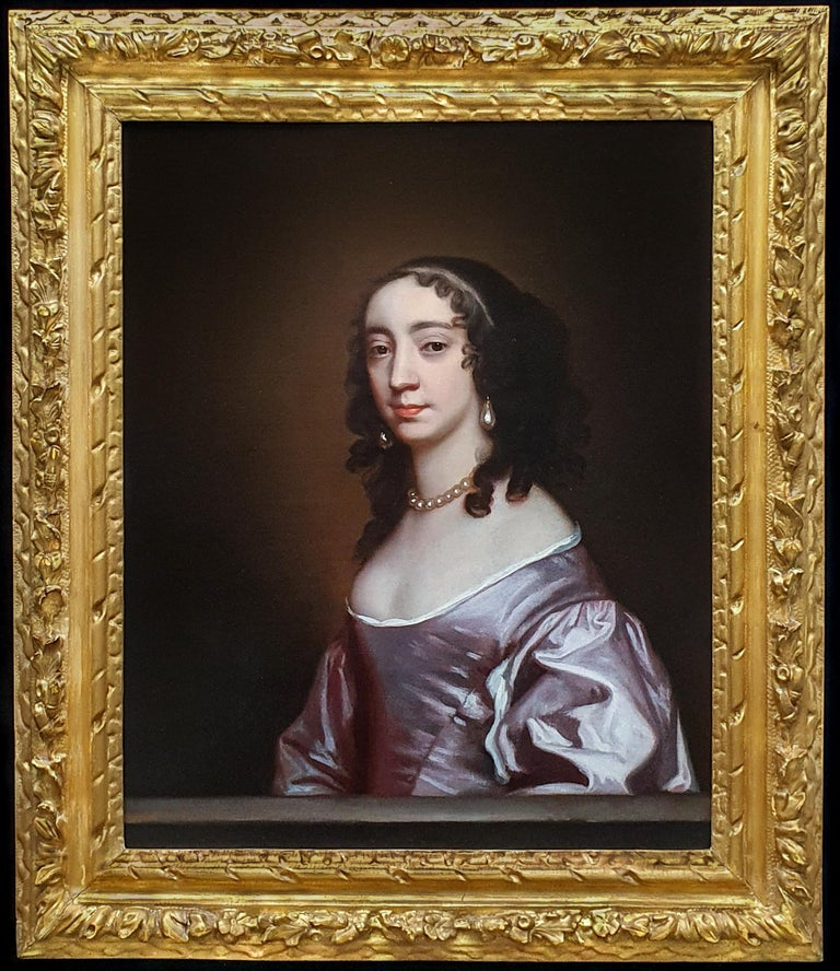Sir Peter Lely Portrait Painting - Portrait of a Lady in a Mauve Dress c.1660; Antique Oil Painting