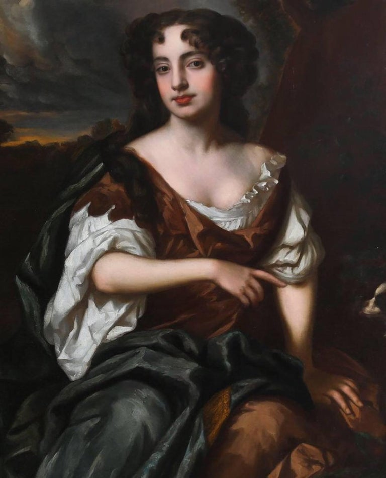 Portrait of Viscountess Townshend - circle of Sir Peter Lely - Black Portrait Painting by Sir Peter Lely