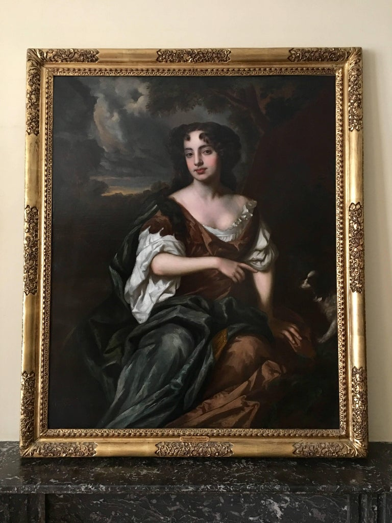 Late 17th century portrait of Viscountess Townshend of Raynham Hall, Norfolk as a young woman. She is seated almost whole length to the right on a bank, eyes to front, wearing a loose dress and robe. This large scale, finely rendered and highly