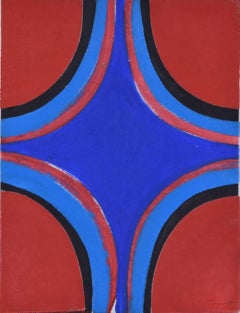 Sir Terry Frost Red, Black and Blues Oil on canvas board Modern British Art