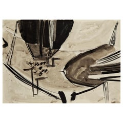 Terry Frost, Thrust, Modern British Picture, Ink and Wash on Paper, 1950s