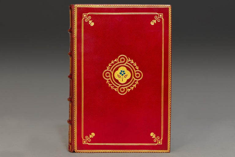 1 volume.  Bound in full wine morocco, Top edges gilt, raised bands, ornate gilt on spine and covers, illustrated in Color by Russell Flint.  Published: Boston and London: The Medici Society. N.D., circa 1930s. Handsome copy.