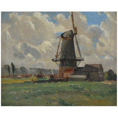 Sir William Ashton English Windmill Oil on Canvas in Period Frame