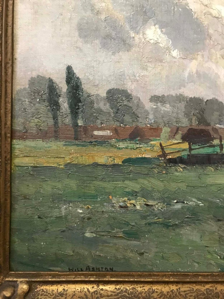 William Ashton (1881-1963), Oil on canvas on board, signed lower left: WILL ASHTON  This work was probably painted on one of Ashtons painting trips to the UK in the early years of the 20th century. The image of a Norfolk windmill is painted in a