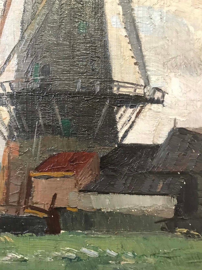 Painted Sir William Ashton, Norfolk Windmill, Oil on Canvas For Sale