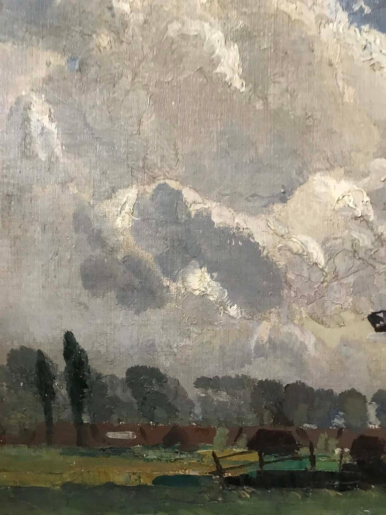 20th Century Sir William Ashton, Norfolk Windmill, Oil on Canvas For Sale