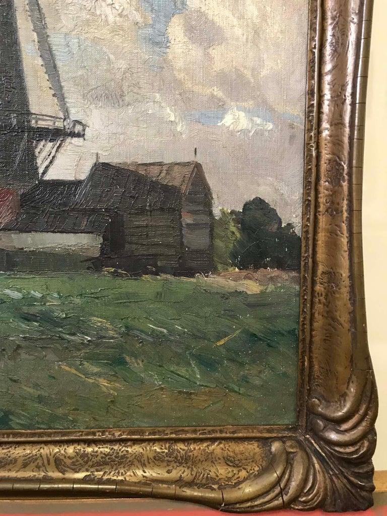 Sir William Ashton, Norfolk Windmill, Oil on Canvas For Sale 2