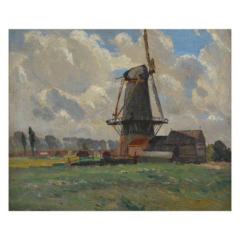 Sir William Ashton, Norfolk Windmill, Oil on Canvas For Sale
