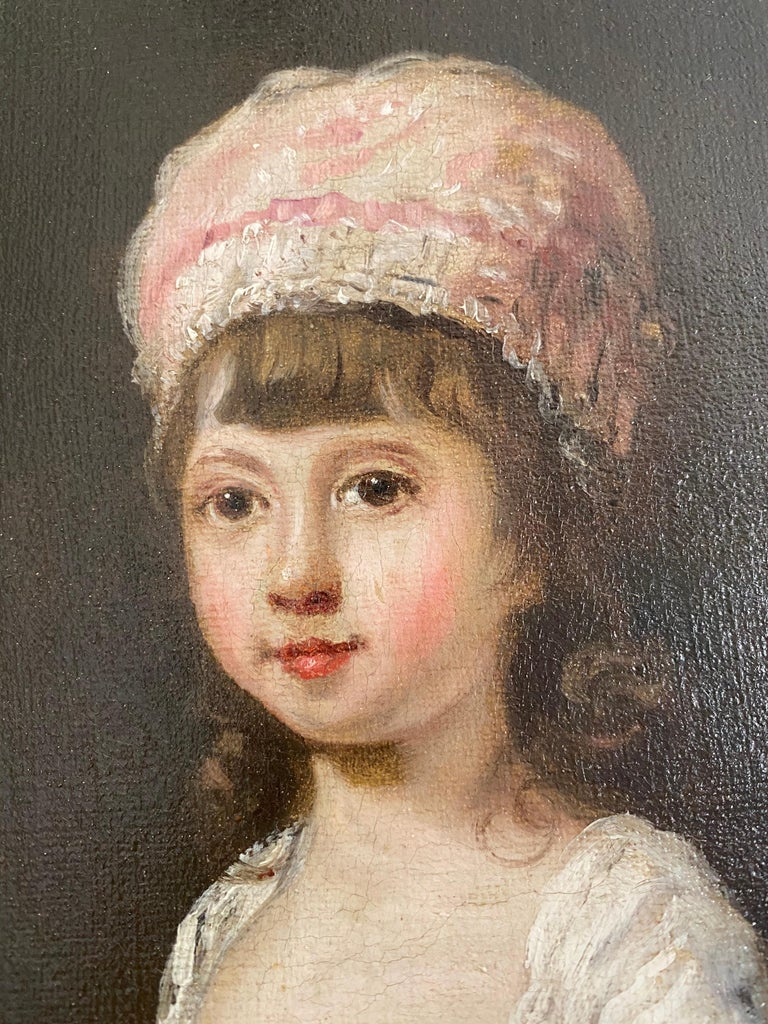 18th century Portrait of  a Young Girl wearing a Pink Bonnet - Painting by Sir William Beechey