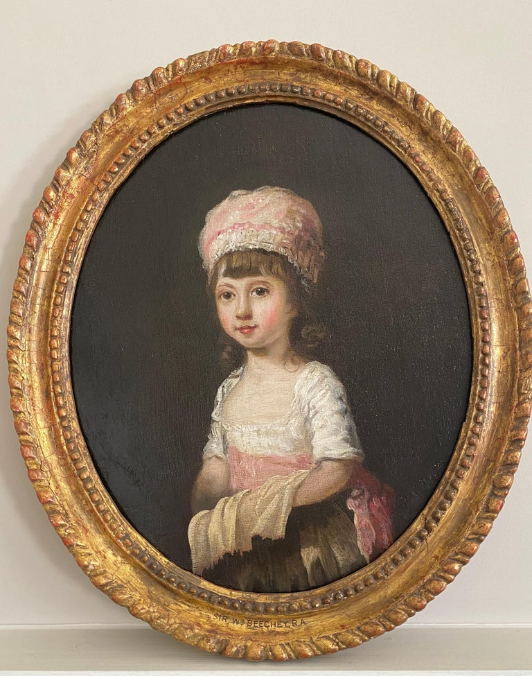 Sir William Beechey Portrait Painting - 18th century Portrait of  a Young Girl wearing a Pink Bonnet