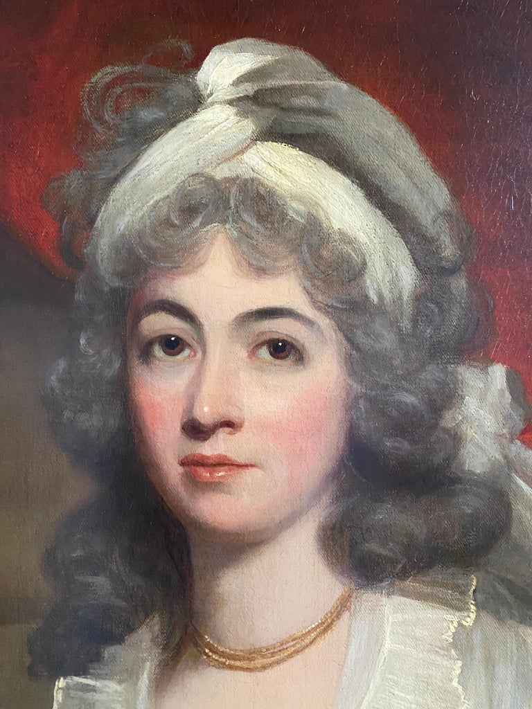 Portrait of Anne, Duchess of Cumberland and Strathearn (1743-1808) by Sir William Beechey RA (1753-1839), three-quarter length, seated on a classical terrace in a white gown.   Oil on canvas in a giltwood frame.  Dimensions: 141 x 114cm (in