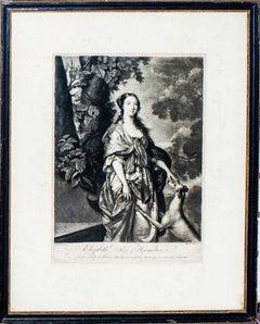 Elizabeth Duchess of Hamilton - Original Etching by W. Hamilton - Late 1700