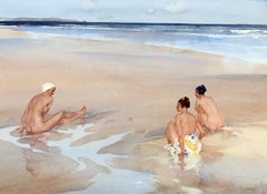 Evelina, Mirabel and Alice on Bamburgh Sands (Northumberland) - Watercolor