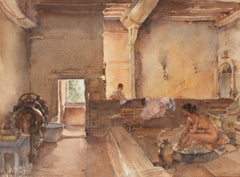 The Chateau Bath, Equilly (Paméla Bathing) - Watercolor - British