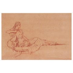 Sir William Russell Flint Drawing of a Reclining Lady