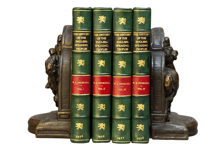 4 volumes.   Sir Winston S. Churchill. History of The English Speaking Peoples.   Rebound in 3/4 green morocco, green cloth boards, top edges gilt, raised bands, gilt panels, red labels.  Published: London: Cassell & Co. 1956-1958. First