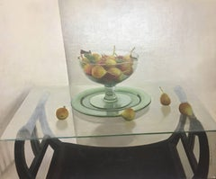 STILL LIFE. TABLE. CRYSTAL original realist acrylic canvas painting