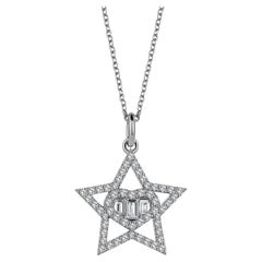 Sirius Baguette Diamond 18K White Gold Charm Necklace