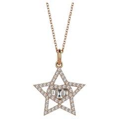 Sirius Love Baguette Diamond 18K Rose Gold Charm Necklace