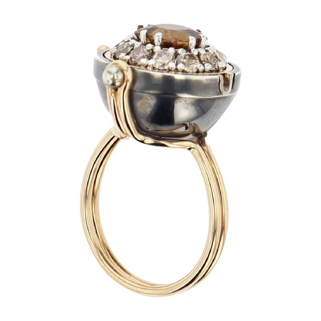 Sirius Sphere 18 Karat Gold Golden Ceylon Sapphire Diamond Ring by Elie Top