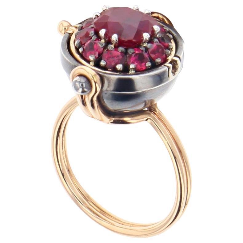 Sirius Sphere 18 Karat Gold Rubies Ring by Elie Top